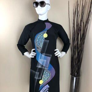 Vintage Black Abstract Shimmer Cheongsam Dress